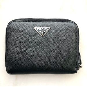 Prada black leather zipper wallet